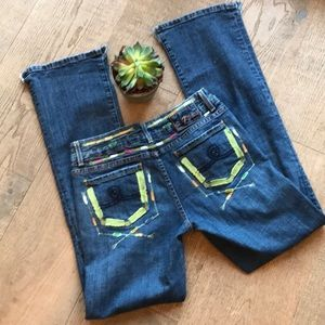 Seven 7 Embroidered Regular Bootcut Jeans EUC!